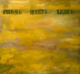 Francesco Correggia, Provate questa lente, 2019, olio su tela,130 x 142 cm