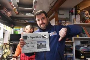 Matteo Salvini a Bologna per la campagna elettorale in vista delle regionali in Emilia Romagna