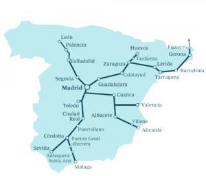 La mappa attuale dei corridoi alta velocità in Spagna