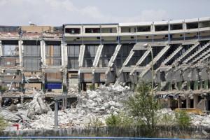 La demolizione parziale dello Stadio Vicente Calderón simbolo del F.C.Atletico Madrid dal 1966