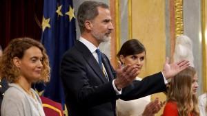 Re Felipe VI de Borbon, all'inaugurazione la XIV legislatura spagnola, lunedì 3 febbraio a Congreso de los Diptados.