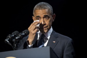President Barack Obama wipes away tears as he delivers his farewell address at McCormick Place in Chicago