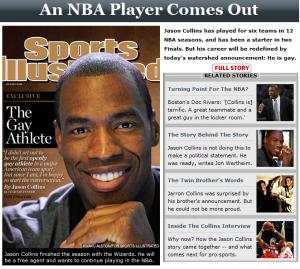 Jason Collins, 34 anni,di professione giocatore di basket (gioca nei Washington Wizards), è il primo atleta dello sport professionistico statunitense a ... - Jason_Collins-300x269