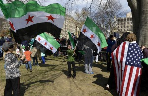 Anti-Assad regime demonstrators mark third anniversary of Syrian revolution at Washington rally