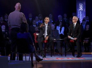 US President Barack Obama participates in a live town hall event with CNN's Anderson Cooper on reducing gun violence in America