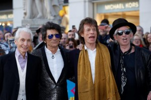 "Members of the Rolling Stones arrive for the ""Exhibitionism"" opening night gala at the Saatchi Gallery in London"