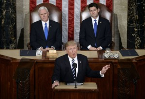U.S. President Donald Trump delivers his first address to a Joint Session of Congress . DC
