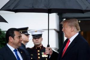 Trump con l'ombrello