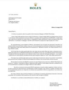Rolex - lettera a renzi